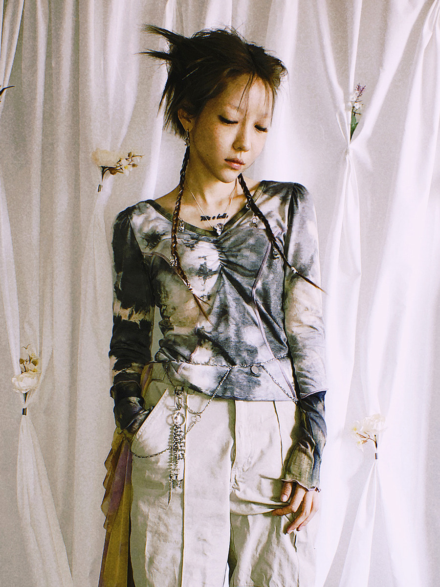 tie-dye shirring t-shirt - gray